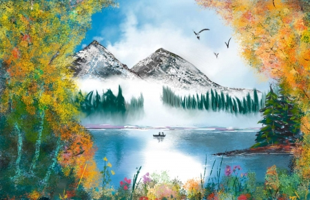 By Bob Ross - painting, mountain, lake, landscape
