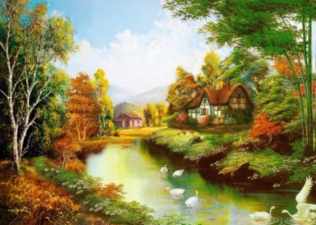 Nature painting - painting, nature, tree, river