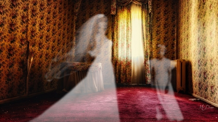 Bride From the Past - house, ghosts, gothic, bride, Halloween, spirits, vintage, manor, goth, dark