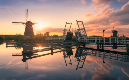 Evening in Netherlands - Benelux, calm, windmill, bridge, canal, sunset, reflection