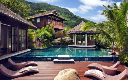 Terrace by Pool - gazebo, pool, terrace, house, palm, wooden