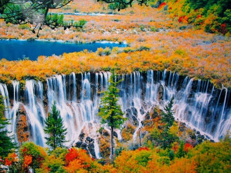 Jiuzhaigou Valley in Autumn, China - Red, Orange, Beautiful, Leaves, Cascade, Gorgeous, Rust, View, Trees, Green, Color, Colors, Waterfall, Autumn