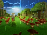Mushroom Rain in Realmcraft Free Minecraft Style Game
