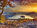 View of lake Bled in autumn