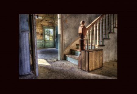 The Day That Never Comes - window, floor, framed, teal, old, wall, suitcase, door, staircase, banister, sunshine, room, wood, decrepit