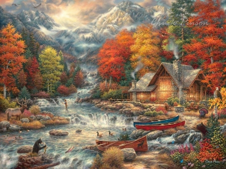 Treasures of the Great Outdoors - colors, river, cabin, trees, animals, autumn, artwork, cascades, boat, people, painting