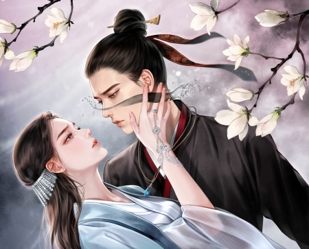 Fantasy couple - couple, jihye park, frumusete, magnolia, goddess, spring, man, superb, fantasy, girl, flower, rimaarts, gorgeous