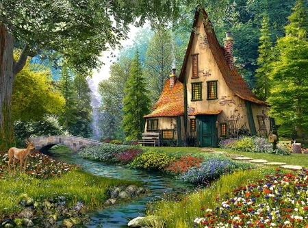 Cottage - art, house, pictura, cottage, painting