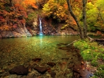 Small waterfall in autumn forest