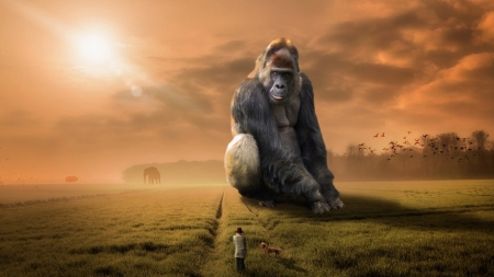Gorilla Sits - Art, Artwork, Gorilla, Fantasy Art