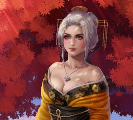 Ciri - the witcher, asian, prywinko, ciri, geisha, prywinko art, red, autumb, yellow, toamna, fantasy, girl