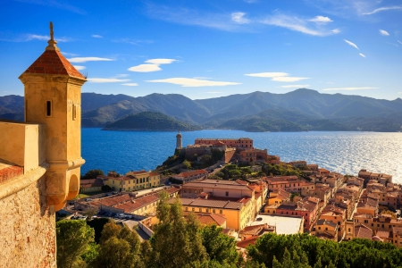 Island of Elba, Italy - village, coastline, sky, sea, clouds