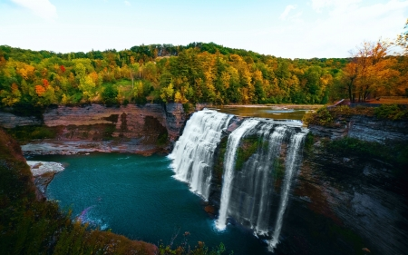Letchworth State Park, NY - cascade, river, fall, forest, autumn, colors