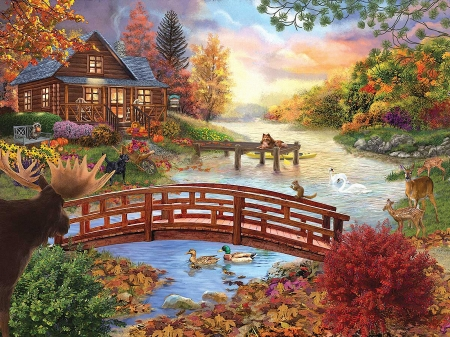 Autumn Evening - pier, ducks, cabin, trees, clouds, sky, deer, swans, leaves, boat, bridge, flowers, river, dog, squirrel, art, moose, digital