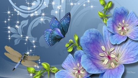 flutter of wings - flower, insect, dragonfly, butterfly