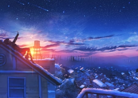 Girl looking up at a starry sky during a cold winter's day - cold, stars, sun, town, sunset, beautiful, sky, hope, innocent, snow, cosy, anime, white