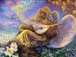 Angel playing Lute in Flower Field