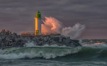 Lighthouse in Latvia - splash, waves, storm, lighthouse, Latvia