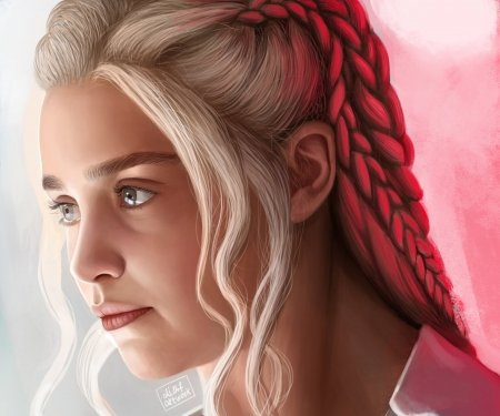 Daenerys - red, art, ali mohammx fakhri, girl, game of thrones, daenerys targaryen, face, white, fantasy