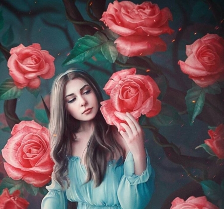 Alice and the Rose Garden - luminos, rose, girl, alice, amedeya ay, garden, pink, frumusete, wonderland, fantasy