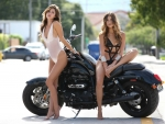 Swimsuit Models Posing on a Triumph - Rocket III Motorcycle