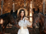 Pretty Model with Two Horses