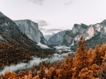A view of misty Yosemite Valley from Tunnel View