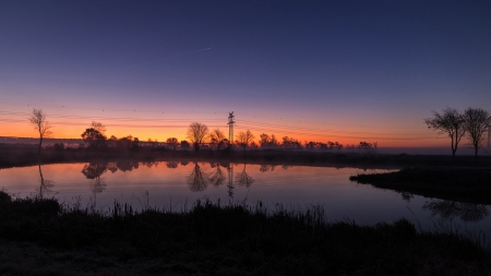 Autumn Sunset in Northern Germany - reflections, trees, mist, pond, colors, sky
