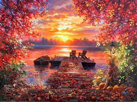 Tennessee River Sunset - colors, chairs, sky, trees, clouds, pier, colorsartwork, boat, leaves, painting, pumpkins