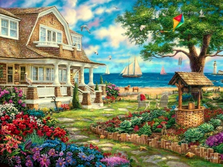 Sea Garden Cottage - house, tree, well, painting, path, sailboat, clouds, artwork