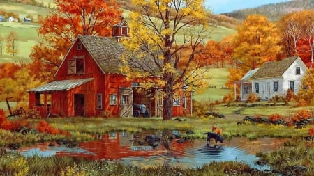 Autumn - art, red, autumn, water, painting, yellow, country, pictura