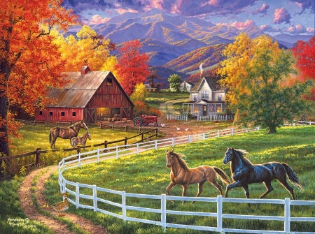 The farm - pictura, horse, red, art, autumn, abraham hunter, toamna, yellow, farm, cal, green, painting