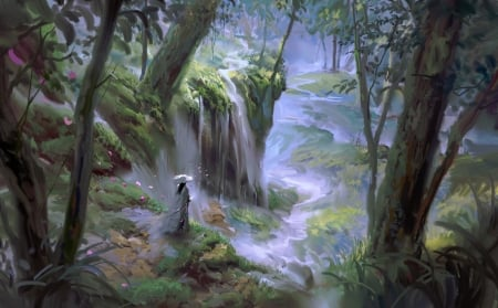 Waterfalls - frumusete, asian, ivan, waterfall, man, blue, art, luminos, yifan, fantasy