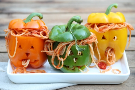 $paghetti peppers - spaghetti, orange, green, food, halloween, yellow, funny, pepper, trio