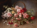 A Basket of Roses and Carnations