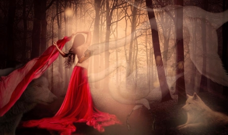 Swan Dance - ethereal, dance, Fantasy, lady, swan, Wolf, red, lovely, woods, enchanting, fantasy girl