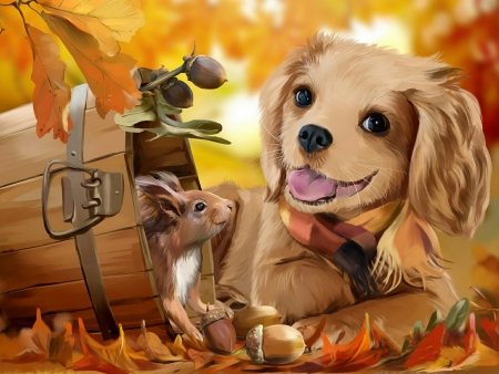 Friends - fall, king, squirrel, autumn, paint, joy, foliage, sweet, Spaniel, Charles, cute, leaves, puppy, friends
