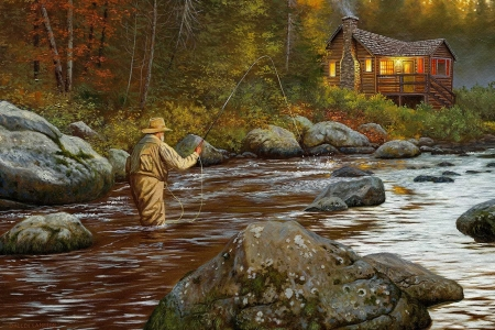 Catching a moment - fall, art, forest, autumn, house, cottage, catch, old, fisherman, stones, moment, painting, river, fishing