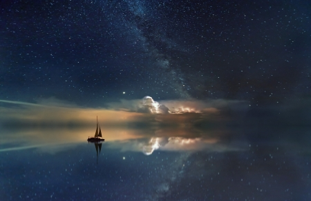 Milky-way - Boat, Ocean, Sailing boat, Rest