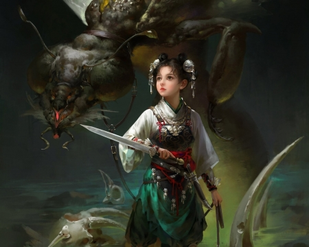Fantasy girl - moth, art, fantasy, april liu, girl, green, monster, creature, dark