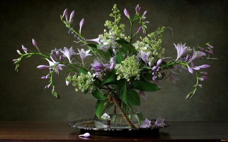 Bouquet with Freesias - glass, vase, flowers, freesias, still life