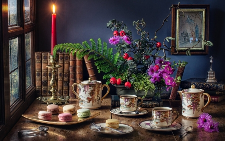 Still Life with Candle - books, cups, still life, candle, macaroons, flowers