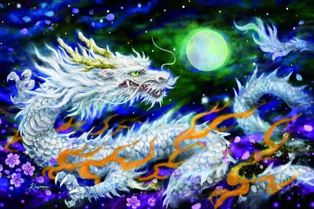 Shining White Dragon - moon, night, art, stars, flowers, painting