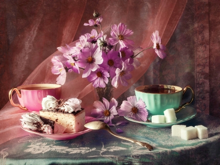 Still life - Cup, Flowers, Sugar, Cakes, Saucer