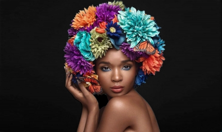 Portrait of a Black Model - model, black woman, flowers, Portrait, face, beautiful, fashion, lady, colors
