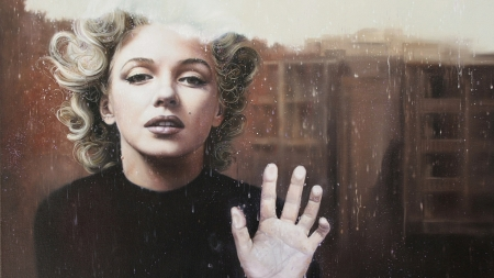 Marilyn Monroe - glass, Marilyn Monroe, window, girl, actress, hand, woman