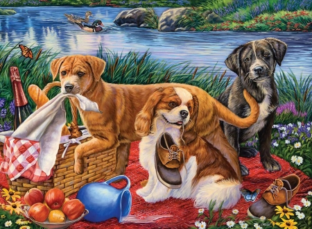 Puppy Picnic - apples, basket, ducks, river, bottles, dogs, foods, shoes, painting