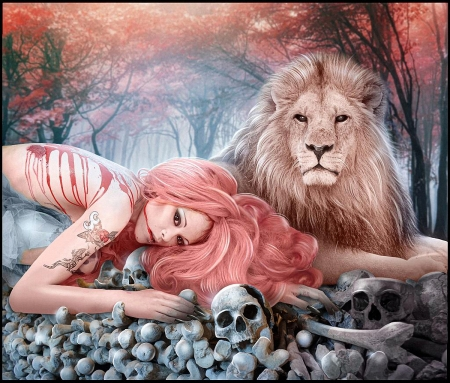 Skull Watchers - skulls, watch, girl, lion