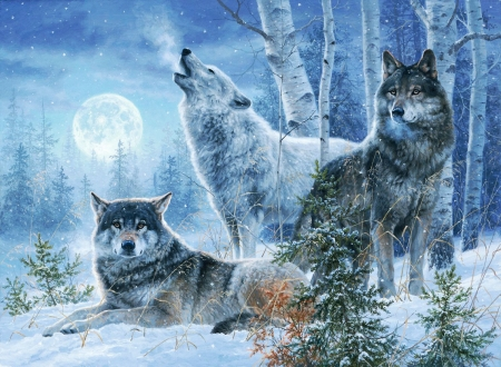 Winter Moonrise - trees, snow, wolves, forest, painting, artwork