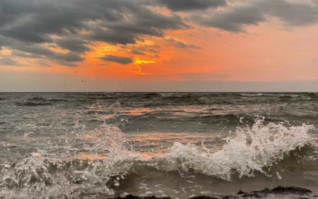 Sunset in Latvia - sunset, wave, sea, splash, Latvia, clouds